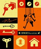 foto of key  - Retro icons set of keys  - JPG