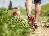 image of dog-walker  - Man legs on the mountain footpath close up image - JPG