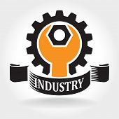 stock photo of heavy  - Stylized vector illustration on the theme of engineering and heavy industry - JPG