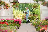 stock photo of greenhouse  - Side view of gardener carrying crate with flower pots while walking outside greenhouse - JPG