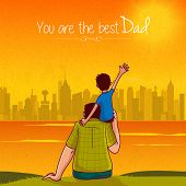 picture of shoulders  - Cute little son sitting on his father - JPG