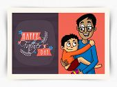 pic of lap  - Beautiful greeting card design with illustration of a cute little son in his fathe - JPG