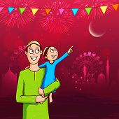 picture of eid festival celebration  - Cute little kid in his father - JPG