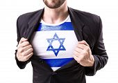 pic of israel people  - Businessman stretching suit with Israel on white background - JPG