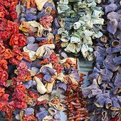 pic of aubergines  - Sun Dried Aubergines Peppers and Tomatoes at Market - JPG