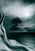picture of serenity  - 3D illustration of landscape with surrealist aspect in the foreground with a rock formation in the background and a big tree upon a rock and the clarity of the sky reflected in a serene water - JPG