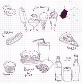 picture of junk food  - vector set of fast food  drawing by ink pen at paper from a school notebook - JPG