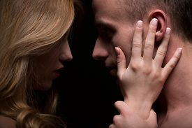image of intimate  - Portrait of sensual passionate couple looking at eyes - JPG