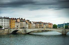 stock photo of bonaparte  - view from river Sona to the Bonaparte bridge and Lyon city - JPG