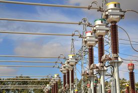 stock photo of substation  - High voltage switch - JPG