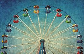 picture of color wheel  - Vintage grunge background with colorful ferris wheel - JPG