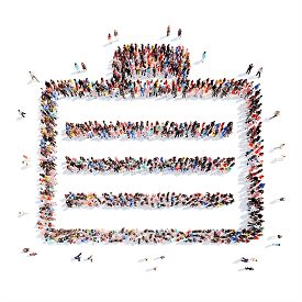 image of bubble sheet  - A large group of people in the shape of a sheet of paper - JPG