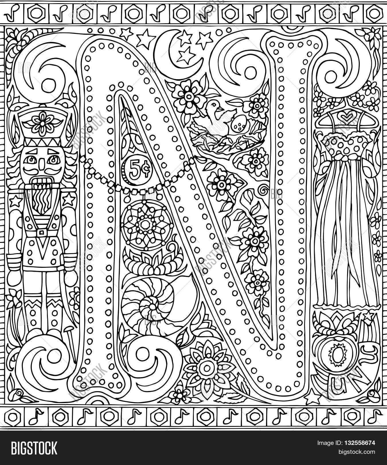 The coloring book poster - Adult Coloring Book Poster Alphabet Letter N Black And White Vector Illustration