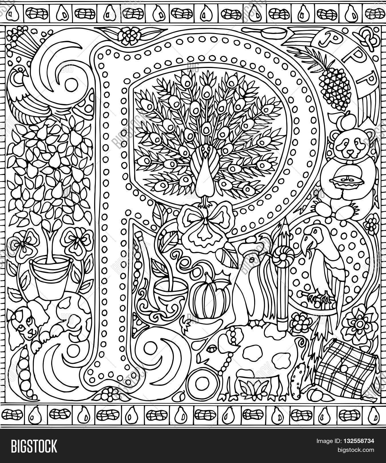 The coloring book poster - Adult Coloring Book Poster Alphabet Letter P Black And White Vector Illustration