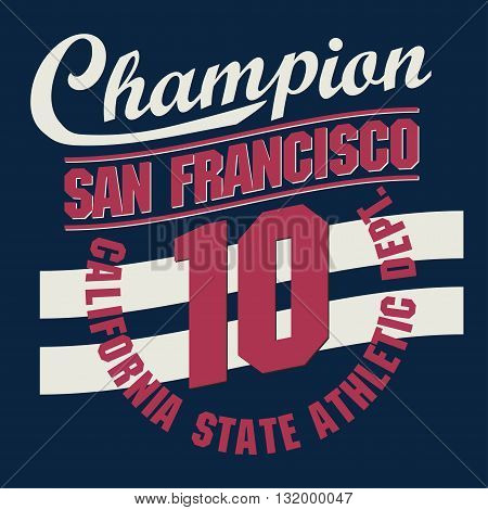 California Sport wear typography emblem, t-shirt stamp graphics, vintage tee print, athletic apparel design fashion clothes. Vector