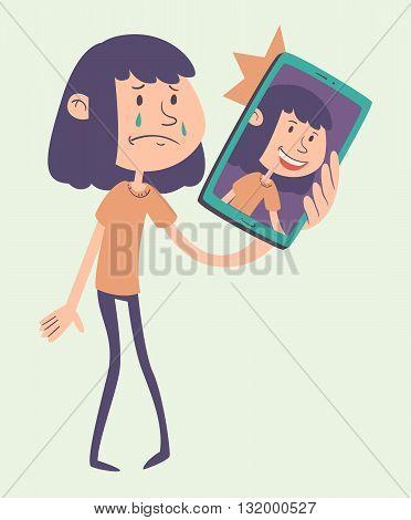Cartoon Girl Taking A Photo