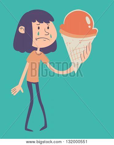 Sad Girl Holding Ice Cream