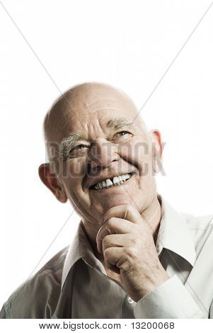Happy elderly man isolated on white background