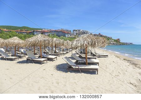 Sveti Vlas, BULGARIA - MAY 1: View of the sand beach in tourist complex Dinevi Resort on May 1, 2016 in Sveti Vlas, Bulgaria.