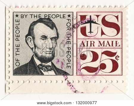 UNITED STATES OF AMERICA - CIRCA 1960 air mail postage stamp printed in United States shows the President Abraham Lincoln circa 1960