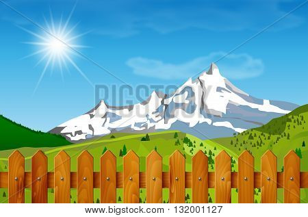 Wooden fence and mountain landscape in background. Mountainous landscape and wooden fence under blue sky with clouds and sun. Spring or summer season under mountains - wooden fence in foreground. Vector illustration.