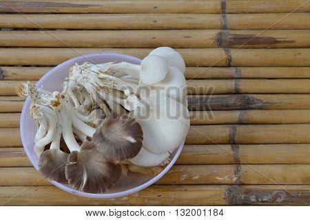 mushroom in plastic tray on bamboo table