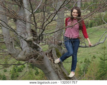Girl sits on a tree in the Carpathian mountains.