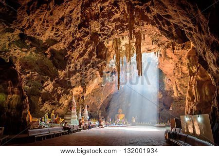 Khao Luang cave in national park at Phetchaburi, Thailand.