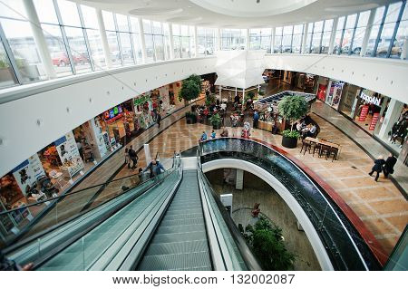 Katowice, Poland - October 24, 2014: View Of Escalator At Trade Center