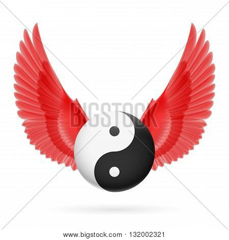 Traditional Chinese Yin-Yang symbol with red wings