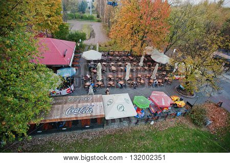 Katowice, Poland - October 24, 2014: Aerial View Of Street Bar With Many Tables Outdoor And Sign Coc
