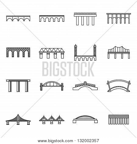 Bridge set icons in thin line style for any design