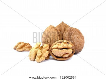 Fresh several walnuts isolated on white background