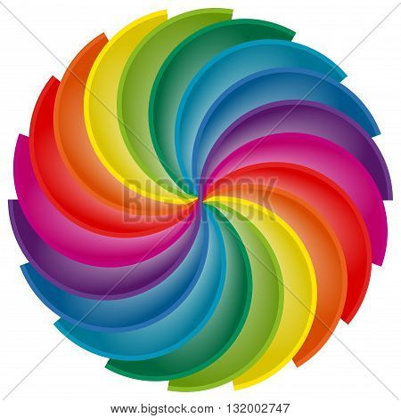 Rainbow Palette spun in a circle isolated on white. Abstract illustration for prints and backgrounds