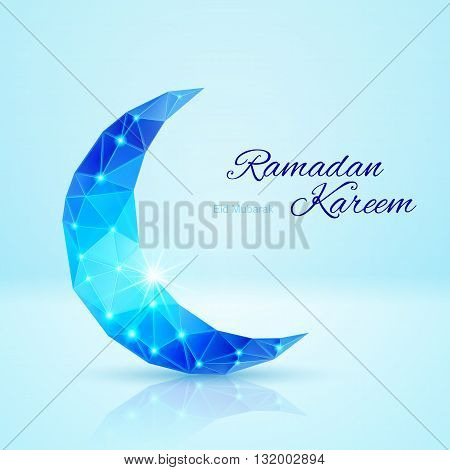 Glowing ornate crescent in blue shades. Greeting card of holy Muslim month Ramadan