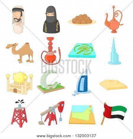 UAE icons set in cartoon style isolated on white background
