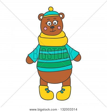 Winter bear. Hand drawn doodle bear in winter clothes. Cute bear for kids design. Vector. Isolated.