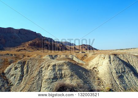 sand mountains and bright blue sky of the Sinai desert