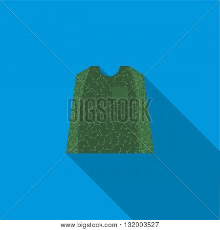 Paintball protection vest icon in flat style with long shadow
