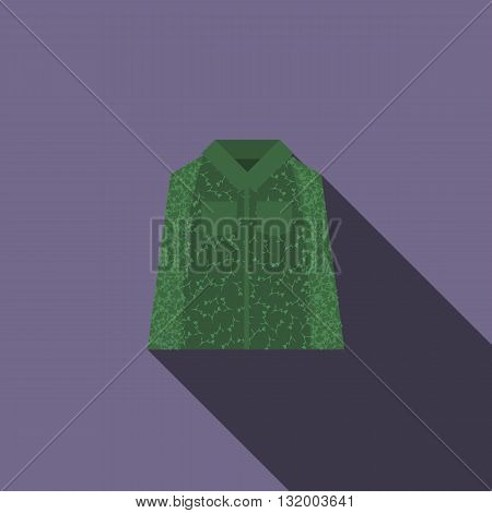Camouflage jacket icon in flat style with long shadow