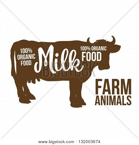 brown contour cow farm animals with a white inscription inside, cow animals, cattle, horned animal, domestic cow, food, animal outline for the product with lettering on the beef meat