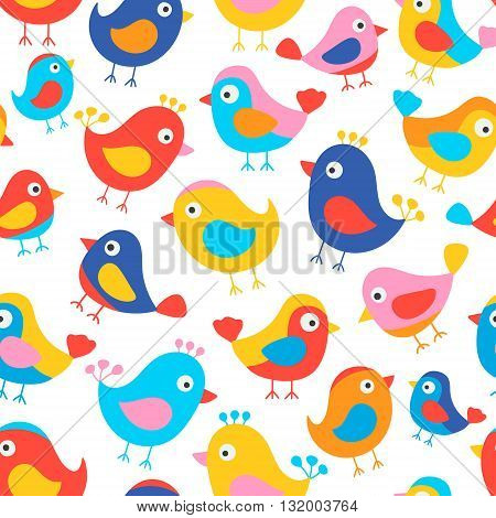 Hand drawn seamless pattern with cute birds. Fun birds for kids design. Vector. Bright colors - red blue pink yellow orange. On white background.