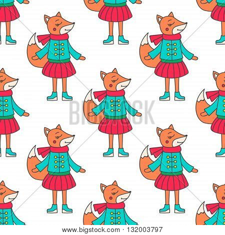 Winter fox girl. Pattern with hand drawn doodle fox in winter clothes. Cute fox for kids design. Vector. Isolated.
