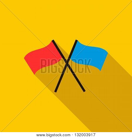 Two crossed flags icon in flat style with long shadow
