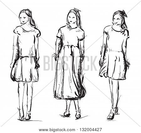 Hand drawn models sketch. Girls in the dress
