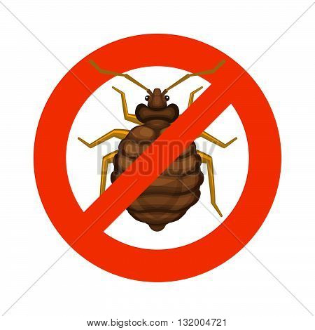 Home Bedbug Red Sign on White Background. Vector illustration