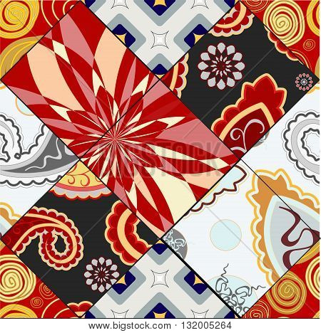 stock vector seamless pattern. oriental indian russian floral design. background