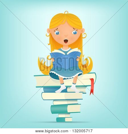 Illustration with young blonde girl sitting on pile of books while reading. Vector illustration
