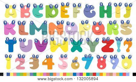 Vector colorful children alphabet spelled out with fun cartoon eyas and smiles.