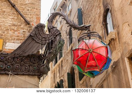 The Maforio Dragon lantern with umbrellas in Venice